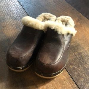 Ugg Kalie Leather Sherpa Clogs Mules 6M